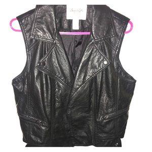 American Rag Cie Faux Leather Moto Vest Size XL